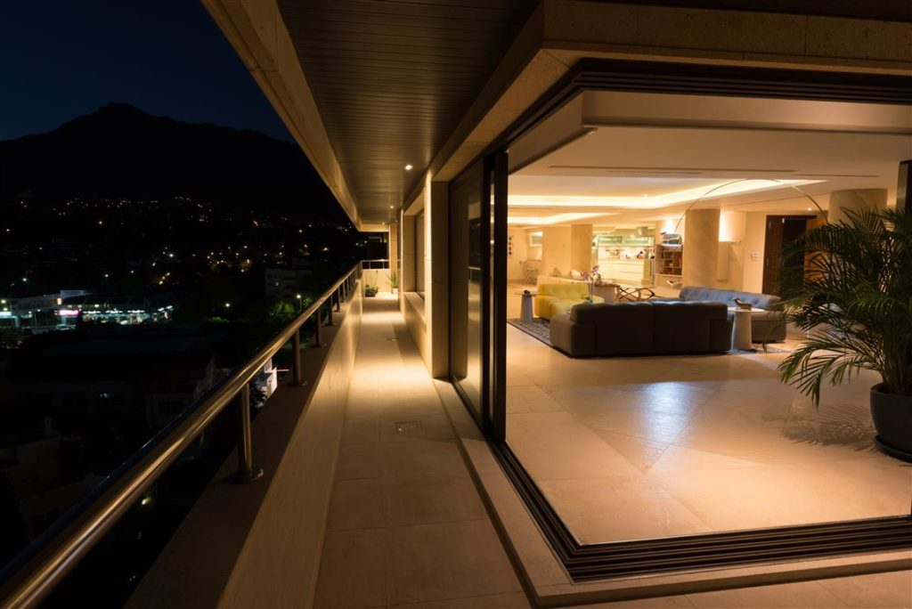 Night time terrace