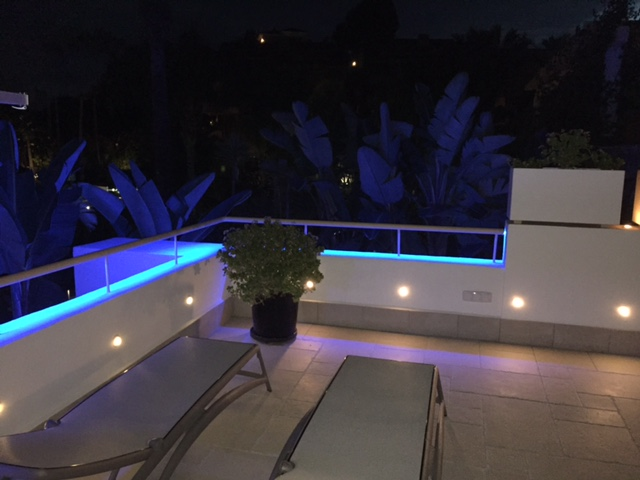 LED lights on terrace